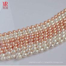 8-9mm Forme de riz Forme de perles d'eau douce