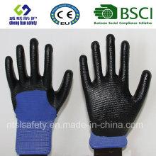 13G Polyester Shell mit Nitril beschichteten Arbeitshandschuhen (SL-N117)