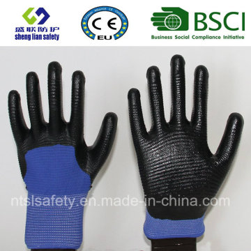 13G poliéster Shell con guantes de trabajo revestidos de nitrilo (SL-N117)