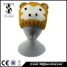 Monkey design knitting colorful baby hat