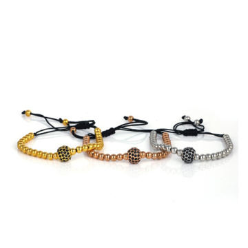 24K Gold 4mm beads and 8mm Micro Pave Black CZ Beads Braid Macrame Bracelet for Men