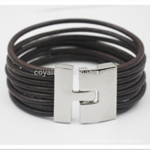 Multilayer Braided Rope Leather Bracelets With Metal Hook Closure