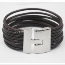 Multilayer trançado corda couro pulseiras com fecho de gancho de metal