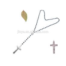 Pierre à la main strass Croix Agate pierre noire collier à longue chaîne