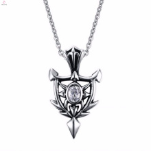 New Design Silver Punk Style Rock Zircon Pendant Necklace Design Jewelry