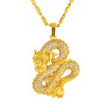 Fashion Costume 3D Chinese Domineering Dragon Pendant Necklace Hip Hop Long Golden Chain Zircon Necklaces Choker Jewellery
