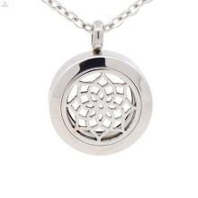 Custom stainless steel 25mm solid perfume filigree cage locket, jewelry coin pendants, essential oil locket