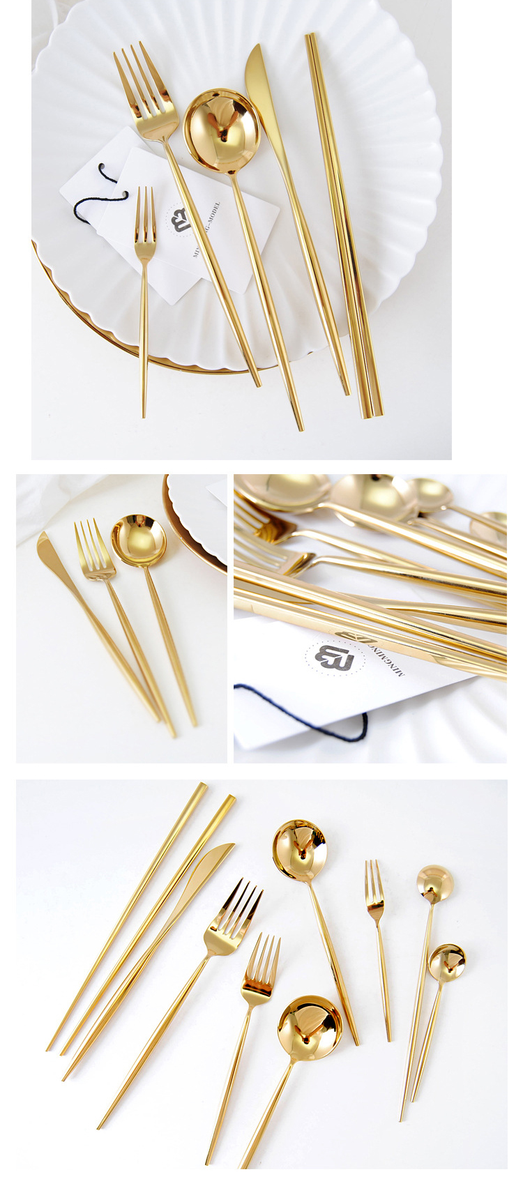 shiny gold cutlery