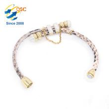 Leopard soft ladies PU leather rose gold hand bracelet design