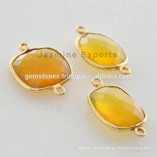 Best Quality Vermeil Yellow Chalcedony Bezel Setting Gemstone Connector Manufacturer