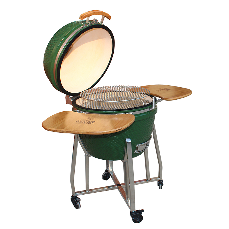18'' Kamado Grill with Stainless Steel Cart Open View
