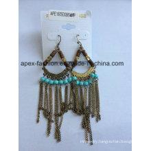 Ethnic Wood Earrings with Metal Tassel for Ladies