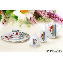 22pcs conjunto de la cena de porcelana redonda, la leche de azúcar taza de té hecho en china, bien de diseño de cerámica juegos de vajilla venden a Europa Mercado
