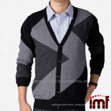 Irregular Striped Cardigan 100% Cashmere Men Knitted Sweater
