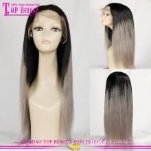 Fábrica de peruca de cabelo humano de beleza superior em peruca dianteira do laço do quaity alta cabelo humano cinza do Qingdao