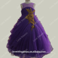 RP0091Factory made purple ruched organza ball gown kids party dresses kid girl dress real picture organza flower girl dresses