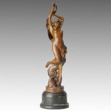 Dancer Bronze Sculpture Nude Girl Carving Brass Statue TPE-077