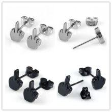 Punk Men Women Stainless Steel Middle Finger Earrings Ear Studs