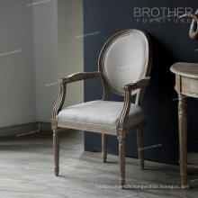 Vente chaude meubles de la maison ovale retour tissu antique style français dinant la chaise