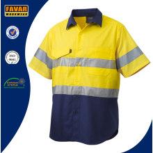 100% Baumwolle Reflektierende Spliced Kurzarm Arbeitshemd