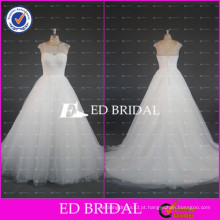 2017ED Bridal Simple Sheer Cap Sleeve Vestido de Baile Tulle Vestidos de casamento baratos feitos na China