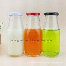 Bouteilles en verre pour lait, boissons, jus d'eau avec décalque