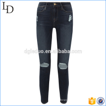 Women high quality stretch skinny denim jeans broken hole jeans