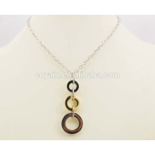 Round Steel circle connected long gold jewelry necklace designs