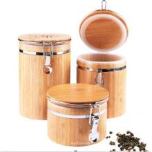 Garrafas e frascos de armazenamento de bambu envernizado