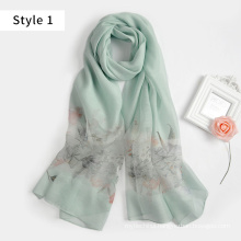 2017 new model silk viscose blend feather hand embroidered scarf