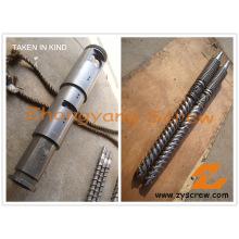 Doble tornillo cónico bimetálico y barril para perfil de PVC
