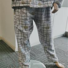 Calças elegantes de pijamas femininas 100% poliéster