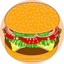 Serviettes de plage rondes en coton imprimé 100% coton - hamburger