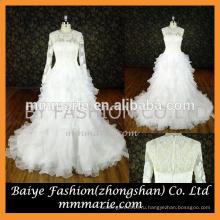 свадебное платье 2016 съемная аппликация длинные рукава бальное платье свадебные платья