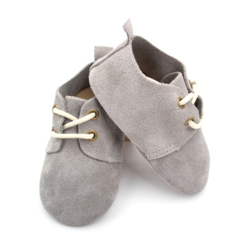 Kasut Grey Baby Suede Leather Oxford Shoes Wholesale