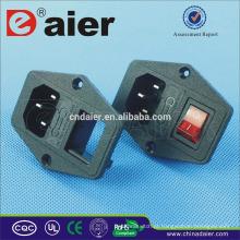 Daier 110v conector de tomada de energia ac com soquete ac fusível