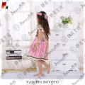 Pink stripes chest embroidery cute girl dress