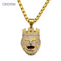 Emas Bersalut Iced Out Lion King Loket Kalung