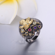 2018 style classique bijoux de mode noir coeur avec la feuille d'or en gros anneau de classe
