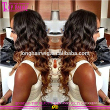 Cheap Wavy Virgin Malaysian Human Hair 1b/#27 Ombre hair Wig Ombre Wigs Lace Front Wig
