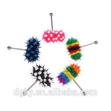 Venta al por mayor Color Koosh Silicona vibración Barbells lengüeta anillos