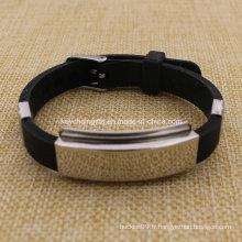 Vente en gros bracelet en silicone à base de carbone personnalisé en silicone