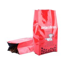 Custom Plastic Packaging Aluminum Foil Retail Zipper Food Pouch Block Bottom Valve Zip Lock Coffee Ziplock Coffee Food Bag