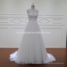 Crystal beaded open sleeveless hot sexi photo image bridal dress