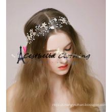 Cabelo branco pérola cristal Metal noiva headring Acessórios de vestido de casamento jóia de cabelo nupcial