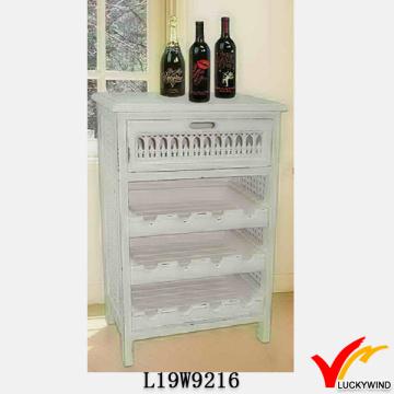 Shabby White Cozinha Rack Design Vinho Armário Madeira