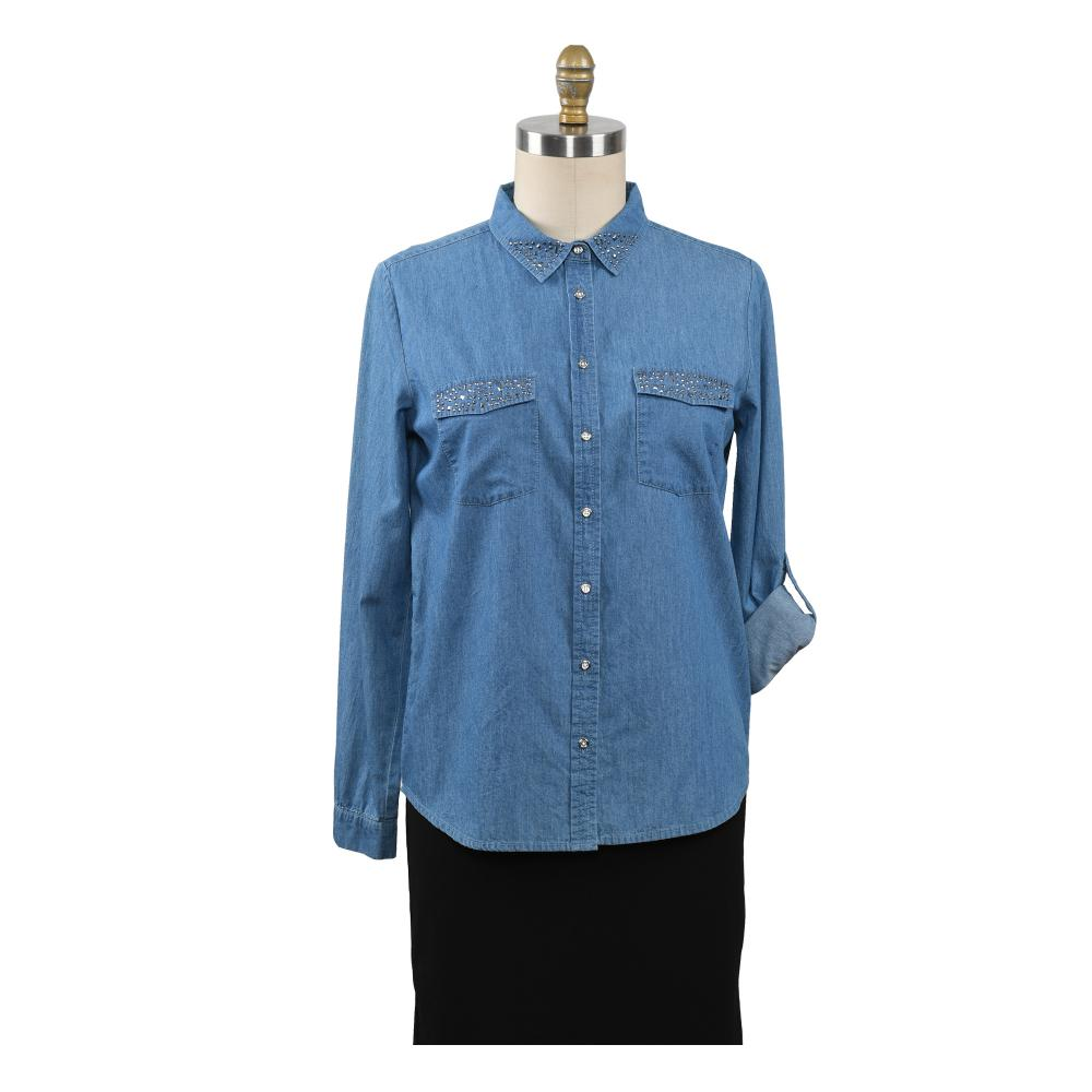 Women's Denim Blue Shirts Autumn Blouse