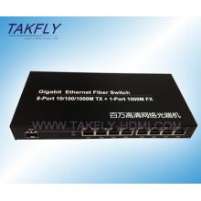 10/100/1000m 1-Port Fx + 8-Port Tp Fiber Switch
