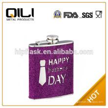 6oz color púrpura brillo cuero envuelta cromada acero metal frasco de la cadera para padre