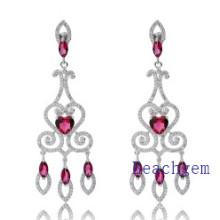 Jewellery-Pink Ruby Sterling Silver Earrings (E8905)